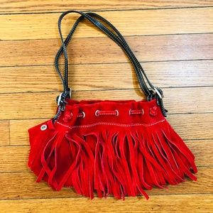 Neiman Marcus Fringe Leather Bag Suede Purse Boho